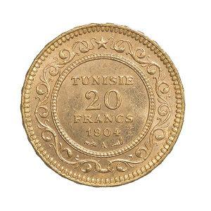 pièce or 20 francs tunisien