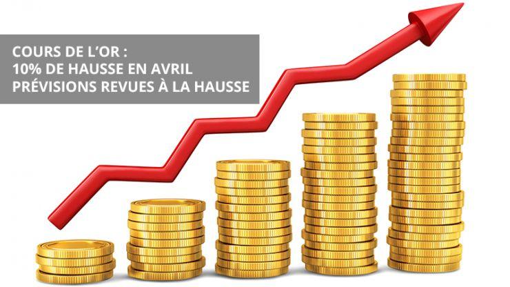 Cours de l'or : 10% de hausse en avril ; prévisions revues à la hausse